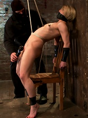 Severely gagged, flogged, clamped, a crotch rope arching her back with devastating multiple orgasms!
